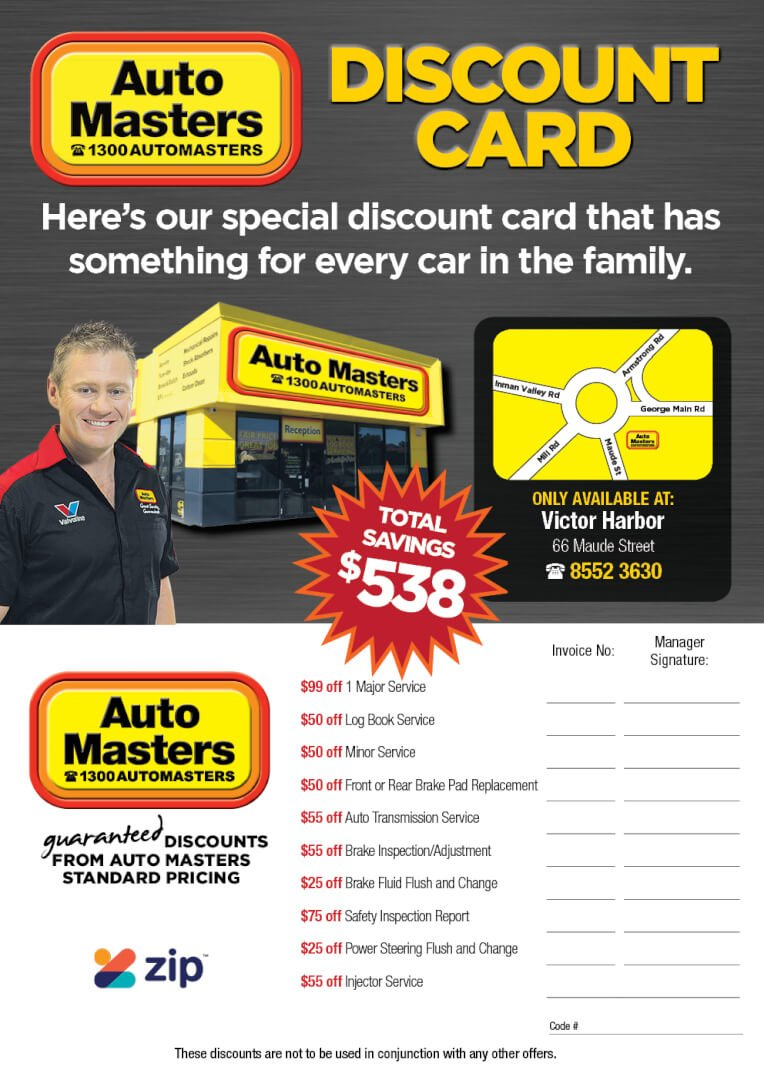 Auto Masters Victor Harbor Discount Card